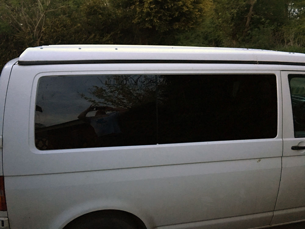 VW t5 conversion driver's side windows fitted