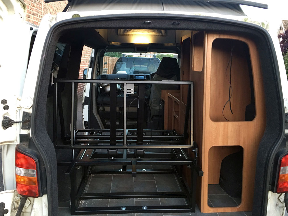 VW t5 cupboard work and rock and roll bed installed