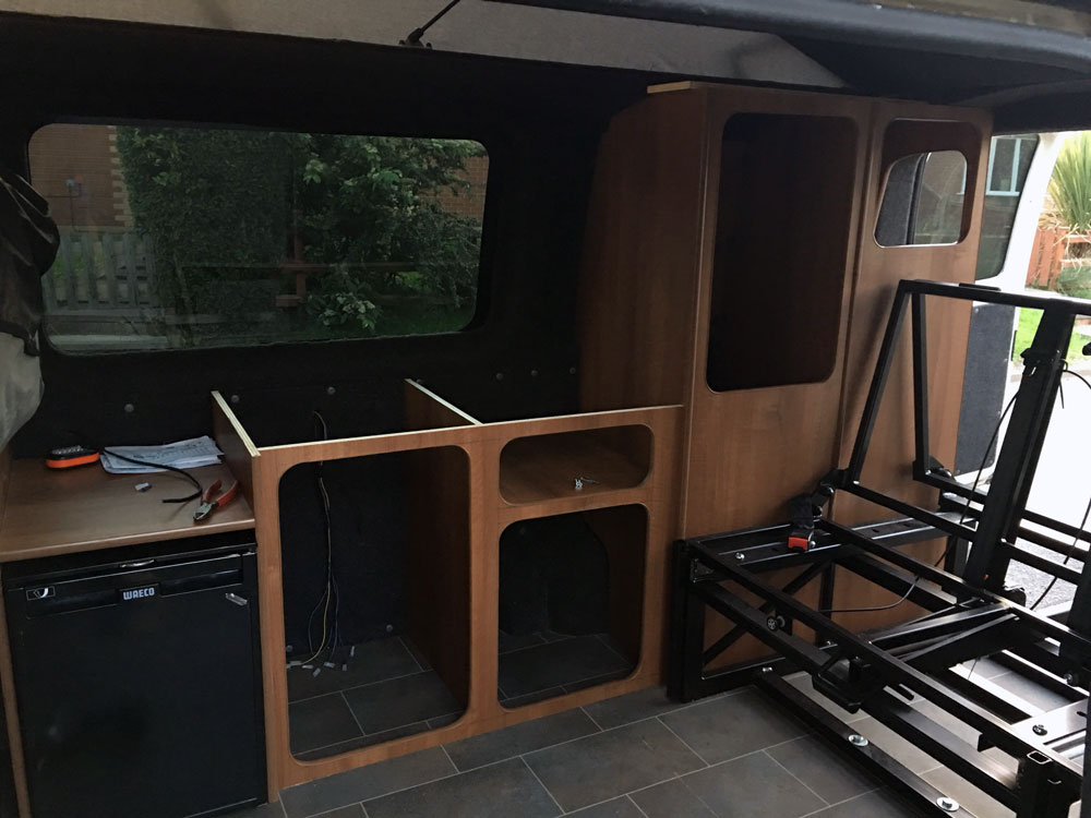 VW t5 cupboard work rock and roll bed and fridge