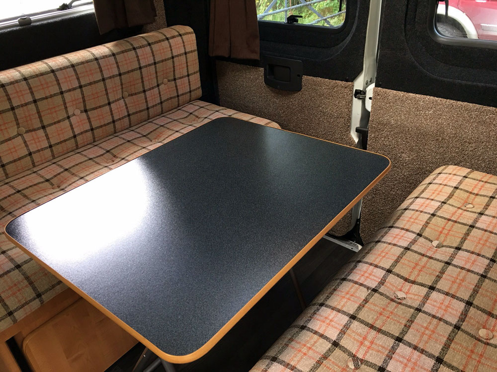 Fiat Ducatto conversion: rear seating area with table
